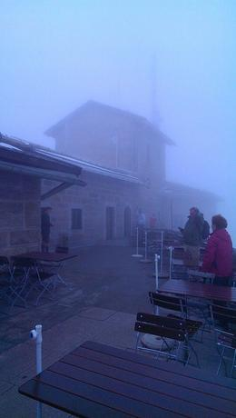 Photo of Salzburg Eagles Nest in Berchtesgaden Tour from Salzburg Outside terrace area covered in fog