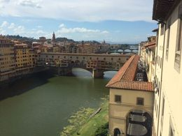View of the Ponte Vecchio from a window in the Ufizzi gallery. , Jacqueline V - October 2015