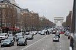 Driving to our hotel along the Champs-Elysees, Frances - February 2011