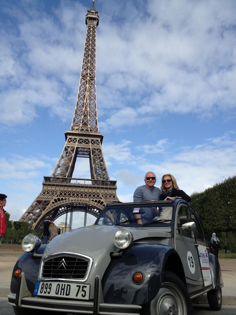 Eiffel Tower in our citreon car - Paris