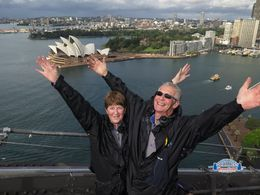 Anne and Neil Hammersley, half way up the Sydney Harbour Bridge - Sydney Opera House in the background. , Anne H - June 2015