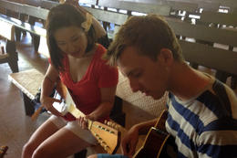 Practicing the ukelele, Jules & Brock - September 2012