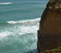 Detail showing eroded sides of limestone cliffs and the waves that continue to carve into them, Susan H - November 2010