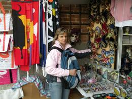 There are lots of shopping vendors next to the Leaning Tower of Pisa, with all types of souvenirs made in Italy., Evan Wade R - April 2009