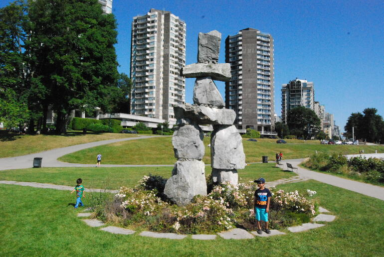 The Inukshuk Statue at English Bay - Vancouver