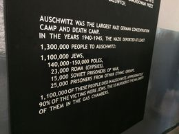 Photo of   A sign in Auschwitz 1 showing the confirmed number of prisoners