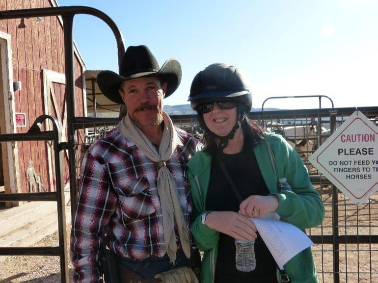 My wife with a real life cowboy - Las Vegas