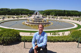 Scott taking a picture at the beginning of the gardens at Versailles. , Scott R - June 2015