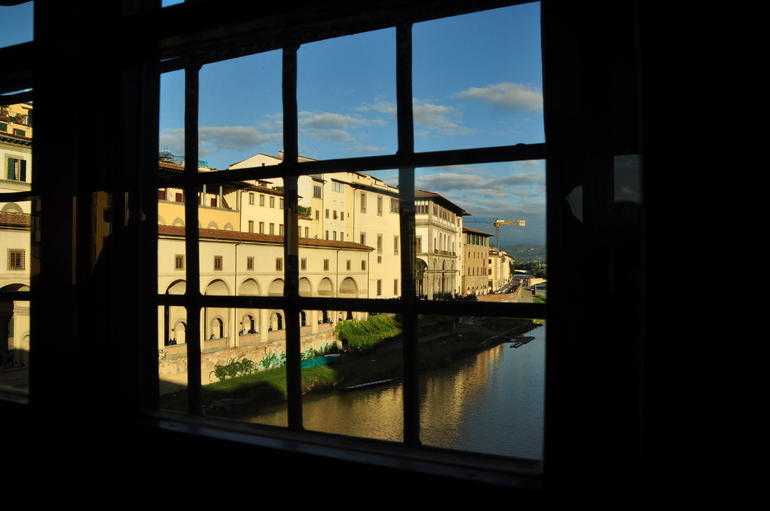 view through a corridor window back to the Uffizi - Florence
