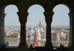 Another view of the Parliament buildings through windows at the Fisherman's Bastion., Hendrik H - May 2009