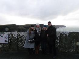 Gracie, Diane and Susann, Overlooking the waves crashing into the 700 ft Cliffs of Moher , Craig and Susann - January 2014