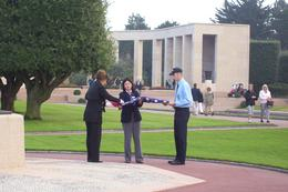 The respect for the flag by the US military who retired the flags for the evening was moving. US military maintain and care for the cemetery and memorial which is treated as an embassy., Jack H - October 2008