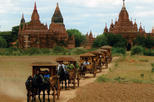 At a glance of Bagan with horse cart and sunset on cruise