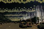 Medellin Christmas lights by scooter