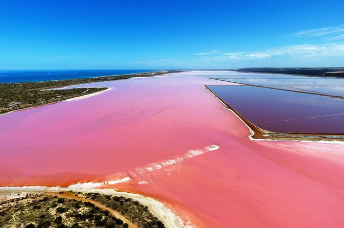 Pink Lake Aerial Flyover from Geraldton