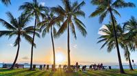 Beach and Sunset Yoga on Waikiki Oceanfront with Diamondhead Backdrop
