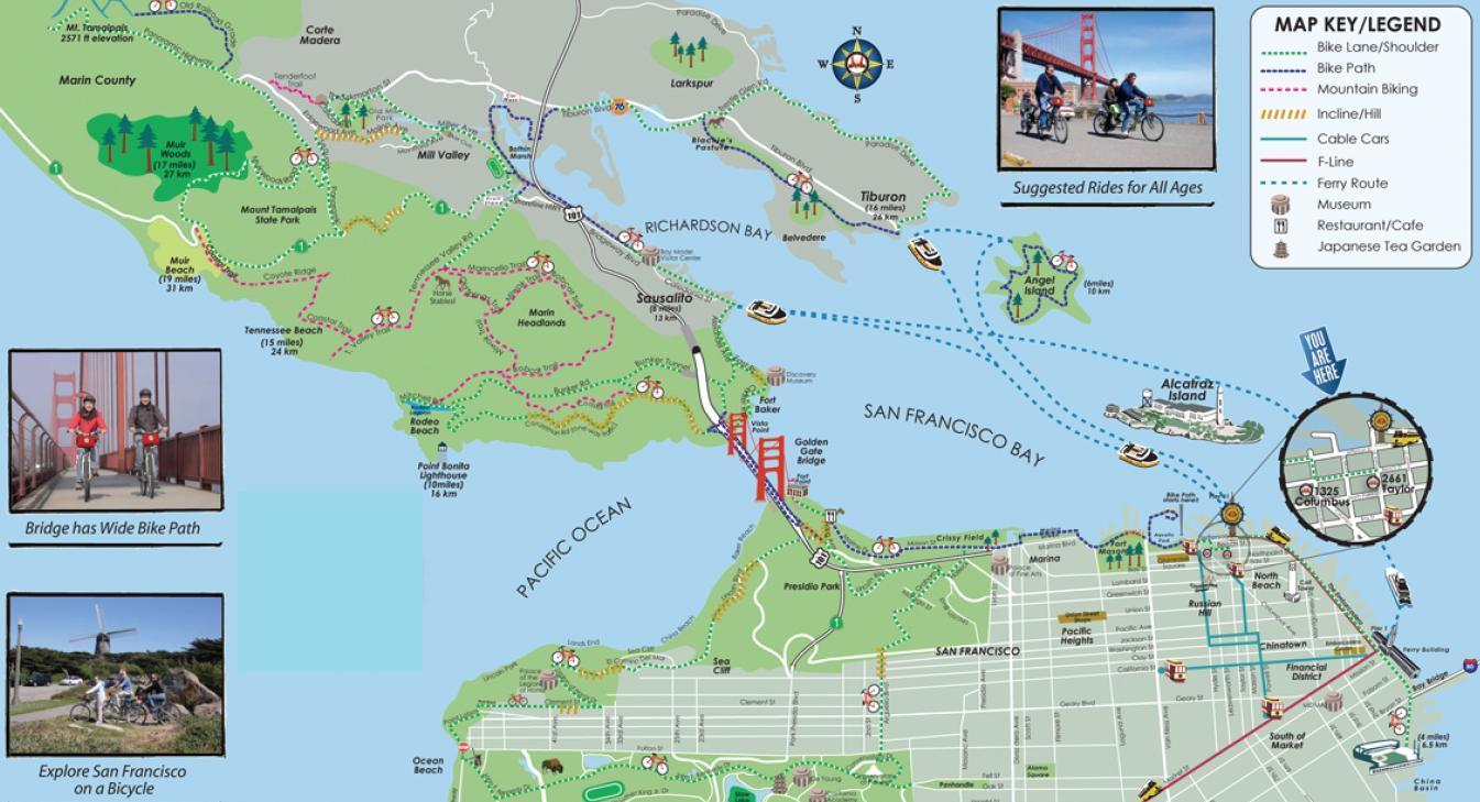 Golden Gate Bridge Bike Trail Map  The Best Bridge 2017