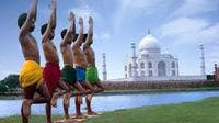 Yoga Session on the Banks of Yamuna overlooking the Taj Mahal in Agra