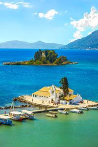 Choose to visit Vlacherna Monastery in Kanoni