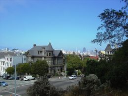 Beautiful Victorian home on Haight Street, seen from Buena Vista Park in the Haight-Ashbury neighborhood , Leah - May 2011