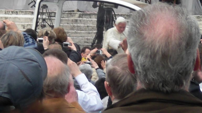 Pope Benedict in his little car. - Rome