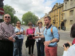 At the start of our tour of Oxford, Tour Guide Oz tells us about where we are. , Arthur S - June 2014
