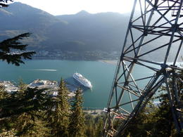 Loong down at our ship from the viewing platform on top of Mt. Roberts. , Max - August 2016