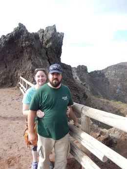 We are at the top of the volcano with the crator directly behind us. , Kimberly H - October 2013