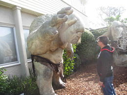 Having fun with a troll outside the Weta Cave , James Fong - August 2013