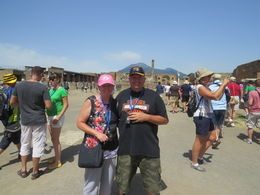 Me and my husband at Pompeii with Mr Vesuvius in the background. , Hazel - August 2014