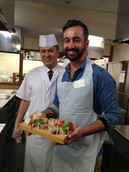 My finished sushi platter with my teacher/chef , Franco V - February 2013