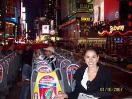 Me on the bus, waiting for the Night Loop which was amazing, by the way! I loved the city with all the bright lights., Carolina G - October 2007