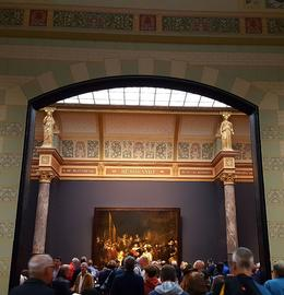 Rembrandt room in Rijksmuseum with Night Watch in the background , rej25 - May 2017