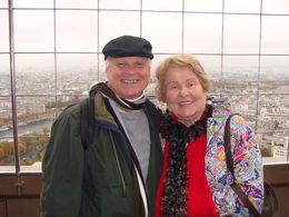Mom and I atop the Eiffel Tower , David K - January 2016