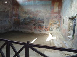 Inside of a house in ancient Pompeii showing the fresco's on the wall. , Linda B - December 2014