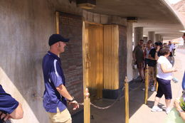 Jason our tour guide telling us about the elevator doors on the Hoover Dam , Frederick S - June 2013