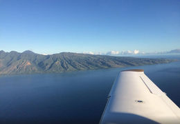 The view of Molokai Island from inside of the plane. - March 2015