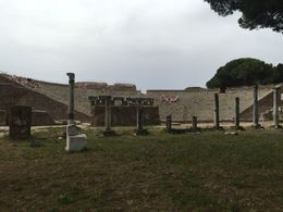 picture of the remains of the theater seating at ostia , Jeremy T - June 2016