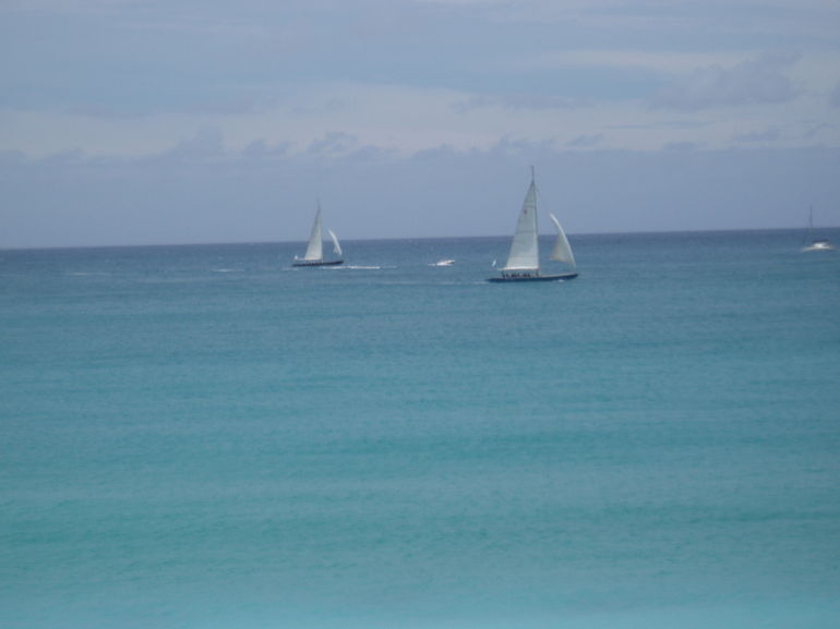 12 - Meter sailboats in a Race off Little Bay - Philipsburg