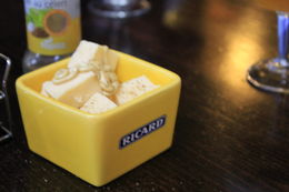 Cubes of white creamy cheese with a sprinkle of celery salt, and a squirt of mustard. Yum! , Destini K - November 2012