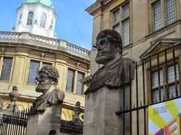 Glasses on figures outside the Museum illustrat the theme - and quot;Geek is Good. and quot; , Arthur S - June 2014