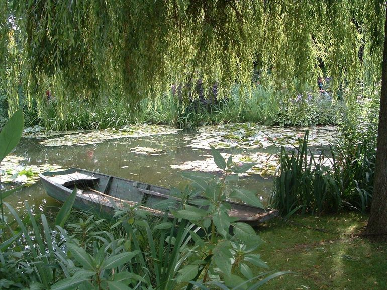 Lily pond with a boat on the Giverny and Monet Tour from Paris - Paris