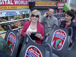 MAGGIE ON THE BIG RED BUS GREAT BARGAIN AND GREAT FUN BEATS ALL THAT WALKING , SANDRA W - May 2011