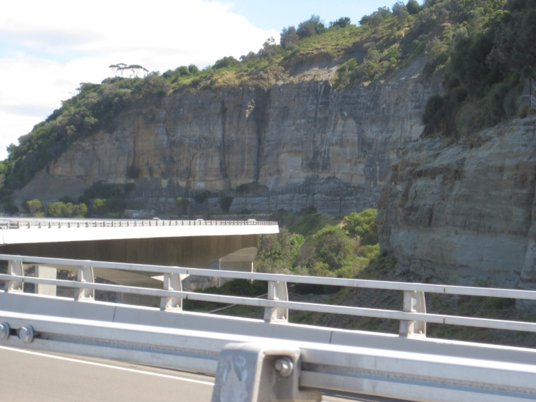 Sea Cliff Bridge bending back -