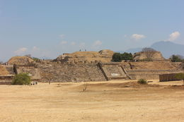 View of the site with people standing on top of the main pyramid., Bandit - November 2013