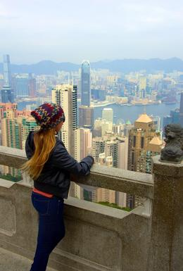 This is a photo of me overlooking the city of Hong Kong and all its beauty! , Erika L - December 2014