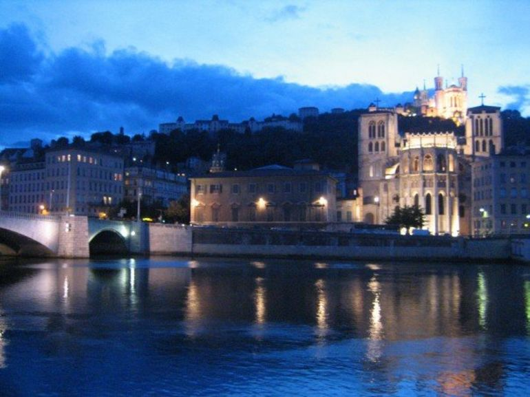 View of Lyon and the Fourviere at night - Lyon