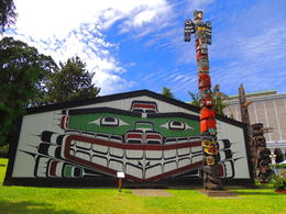Totem Poles and 1st Nation exhibit outside the Royal British Columbia Museum , Kevin F - September 2017