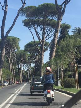 Angel is in the Fiat and I am on the Vespa. , Kate W - October 2017