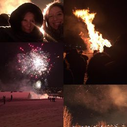 Bonfire and Fireworks with my mother , Lea D - January 2016